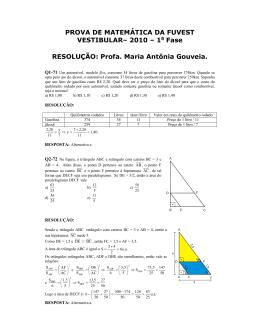 PROVA DE MATEMÁTICA DA FUVEST VESTIBULAR– 2010 – 1