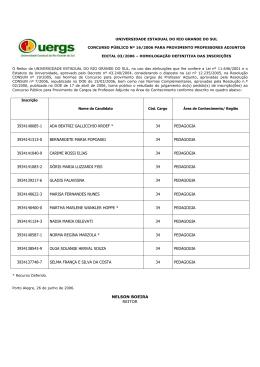 Edital 03/2006 - Homologação Definitiva das Inscrições