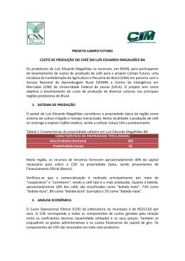 Boletim- CUSTO DE PRODUÇÃO DO CAFÉ EM LUIS EDUARDO