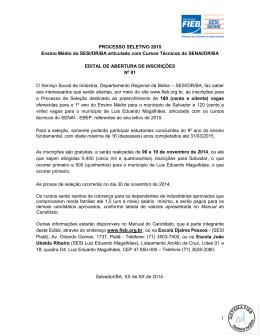 PROCESSO SELETIVO 2015 Ensino Médio do SESI/DR