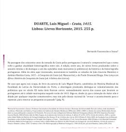 DUARTE, Luís Miguel – Ceuta, 1415. Lisboa: Livros Horizonte, 2015