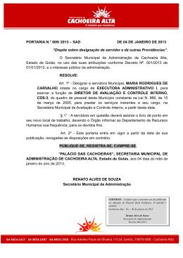 PORTARIA N.° 009/ 2013 – SAD DE 04 DE JANEIRO DE 2013