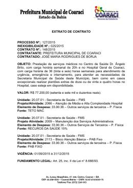 Extrato de Contrato 148/2015 Inexigibilidade Nº.: 025/2015