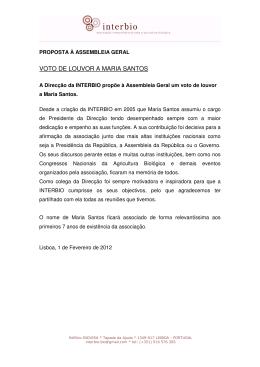 Voto de Louvor a Maria Santos
