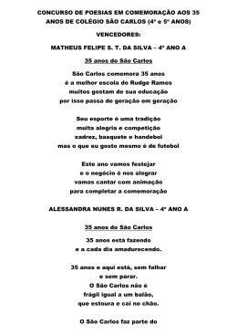 CONCURSO DE POESIAS EM COMEMORAÇÃO AOS 35 ANOS DE