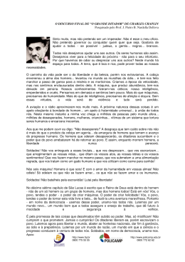 "O DISCURSO FINAL DE ""O GRANDE DITADOR"" DE CHARLES"