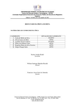 Resultado da prova escrita - Edital Nº 07/2013
