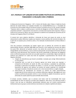 act, fiocruz e uff lançam estudo sobre políticas de controle do