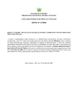 EDITAL DE CONVOCAO - TTULOS