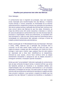 1/6 Desafios para pensarmos lean além das fábricas Flávio
