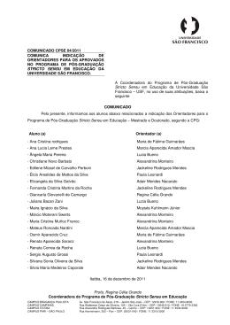 comunicado cpse 04/2011 - Universidade São Francisco