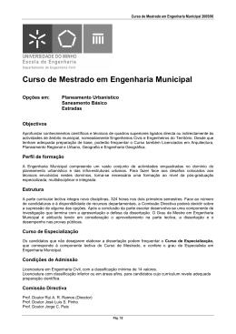 Curso de Mestrado em Engenharia Municipal