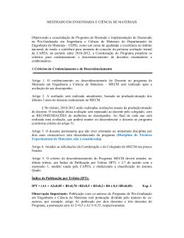 MESTRADO EM ENGENHARIA E CIÊNCIA DE MATERIAIS