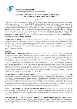 Edital - Centro Universitário FEI