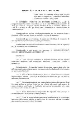 RESOLUÇÃO Nº 549, DE 19 DE AGOSTO DE 2015