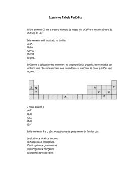 Exercícios Tabela Periódica