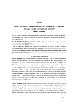 """EDITAL INSOLVÊNCIAS DE """"ANA MARIA MONTEIRO DO PRANTO"""
