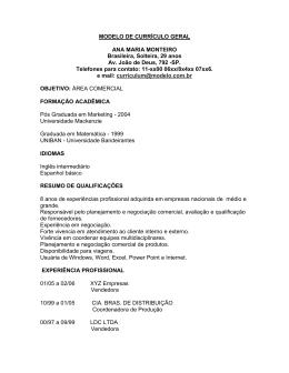 MODELO DE CURRÍCULO GERAL ANA MARIA MONTEIRO