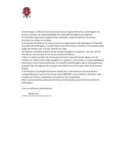 Comunicado Conselho de Arbitragem – Regras 2014