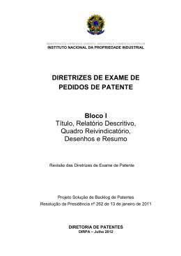 DIRETRIZES DE EXAME DE PEDIDOS DE PATENTE Bloco I