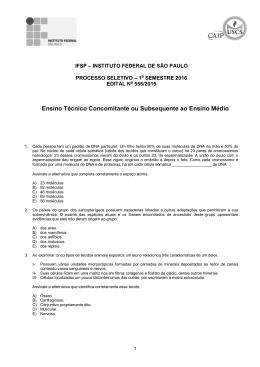Prova - Técnico Concomitante/Subsequente