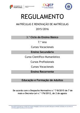 Regulamento de Matrículas para o Ano Letivo 2015/ 2016