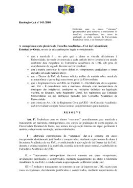 Resolução CsA nº 43/2008 - UnUCET