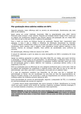 Pesquisa sobre Pos Graduaçao no país