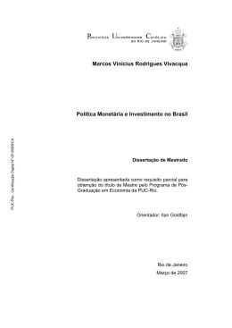 Marcos Vinicius Rodrigues Vivacqua Política Monetária e