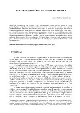 A ESCUTA PSICOPEDAGÓGICA AOS PROFESSORES NA