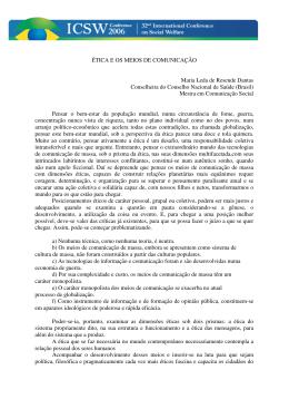 ÉTICA E OS MEIOS DE COMUNICAÇÃO Maria Leda de Resende