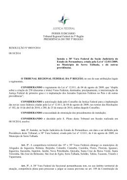 PODER JUDICIÁRIO Tribunal Regional Federal da 5ª Região