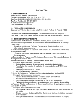 Currículo Vitae I - DADOS PESSOAIS Nome: Marcos Roberto