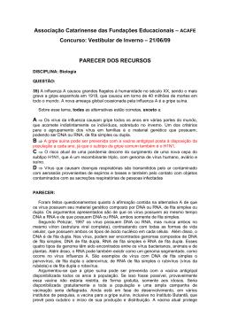 Vestibular de Inverno – 21/06/09 PARECER DOS RECURSO