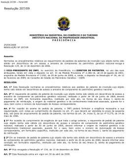 Resolução 207/09 — Pedidos de patente