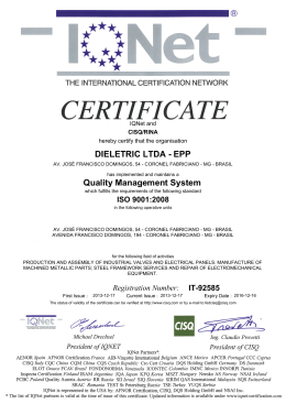 DIELETRIC LTDA - EPP Quality Management System