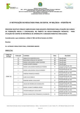 1ª RETIFICAÇÃO DO RESULTADO FINAL DO - IF Sertão-PE