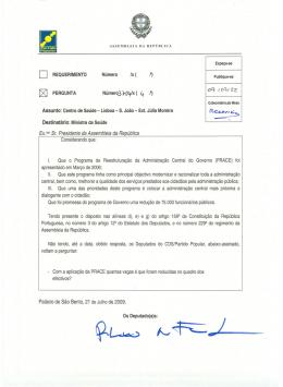 Assunto: Centro de Saúde- Lisboa - S.João