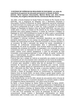 O ESTÁGIO DE VIVÊNCIAS NA REALIDADE DO SUS