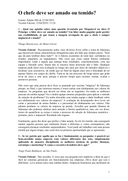 O chefe deve ser amado ou temido - Professor | Osvaldosilva.com.br