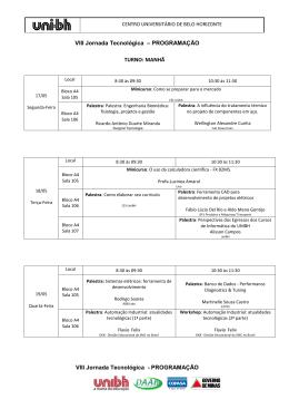 VIII Jornada Tecnológica – PROGRAMAÇÃO TURNO - Uni-BH