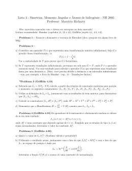 Lista 4 - Simetrias, Momento Angular e´Atomo de hidrogênio