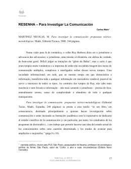 RESENHA – Para Investigar La Comunicación - PUC-SP