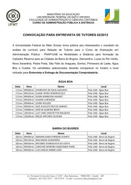 convocação para entrevista de tutores 02/2012 - UAB