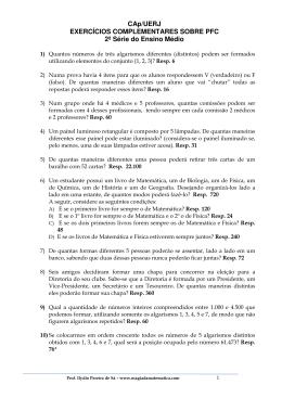 Exercícios complementares (PFC)