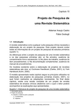 Projeto de Pesquisa de uma Revisão Sistemática