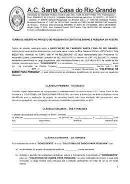 Termo de adesão do projeto de pesquisa do CEP MAR 2015