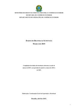 Dados Consolidados de drawback - Março 2015