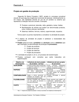 Fascículo 4 Projeto em gestão de produção