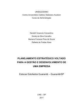 PLANEJAMENTO ESTRATÉGICO VOLTADO PARA